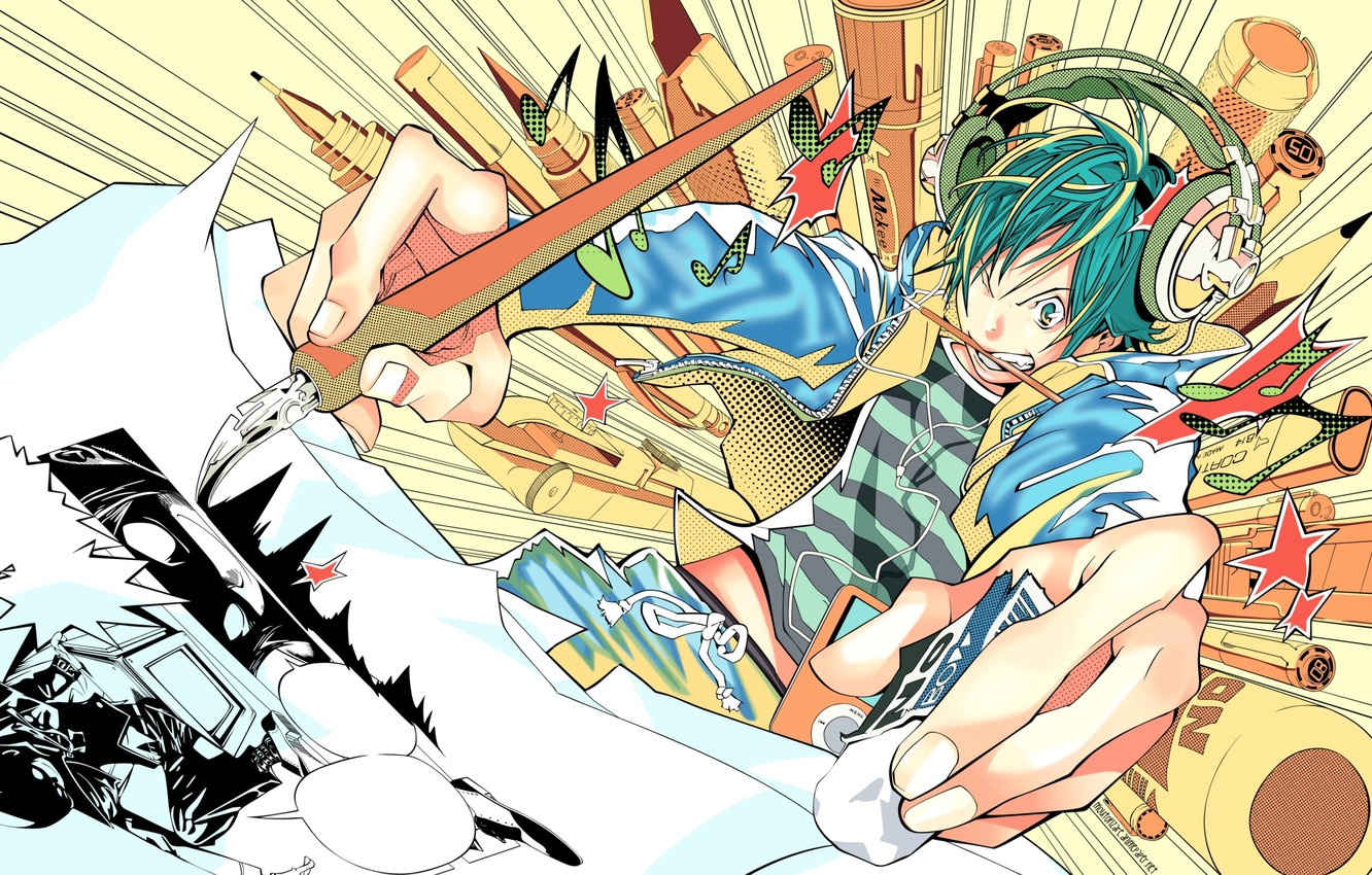 Photo wallpaper ipod, headphones, handle, artist, pencil, brush, draws, bakuman
