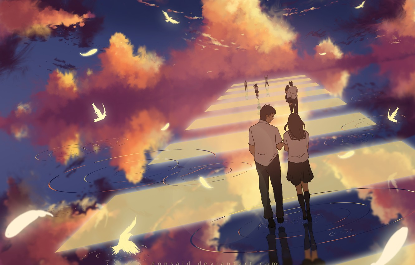Photo wallpaper the sky, water, clouds, birds, reflection, girls, anime, art, the transition, form, guys, students, dias …