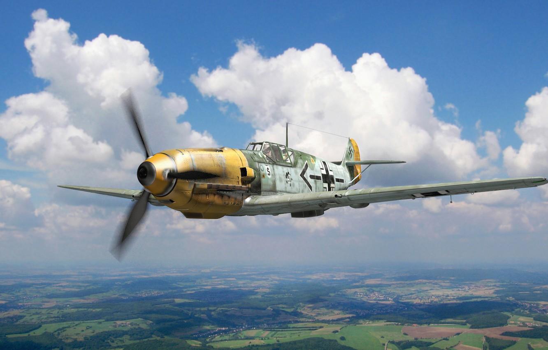 Photo wallpaper figure, art, Messerschmitt, Luftwaffe, Emil, Adolf, single-engine piston fighter-low, Bf.109E, the German pilot of the …