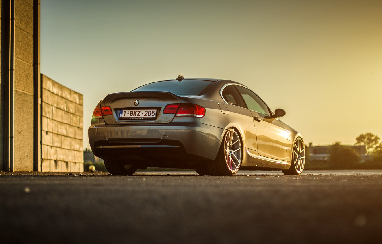 Photo wallpaper BMW, silver, wheels, E92, rearside