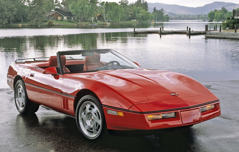 Photo wallpaper red, Corvette, Chevrolet, auto, walls, Corvette, Convertible