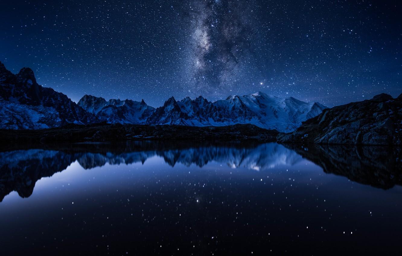 Photo wallpaper space, stars, mountains, lake, reflection, mirror, The Milky Way