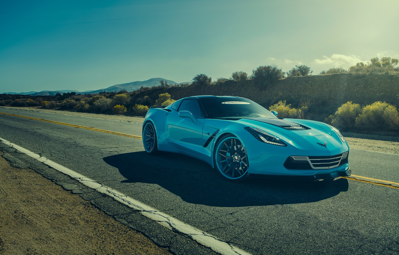 Photo wallpaper Corvette, Chevrolet, Car, Blue, Front, Stingray, Forgatio