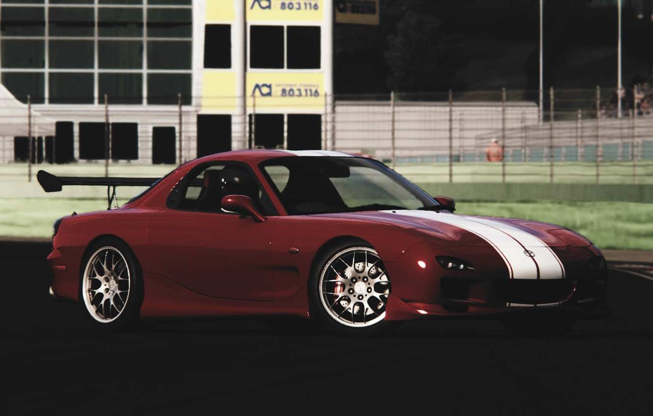 Photo wallpaper strips, tuning, Machine, Mazda, Parking, white, red, drift, Mazda, drift, red, color, RX-7, RX7, tuner, …