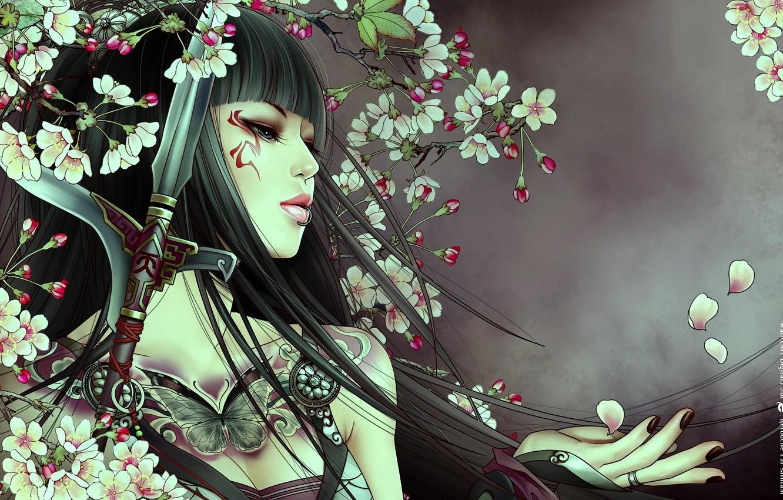 Photo wallpaper girl, sword, petals, tattoo, blue eyes, long hair