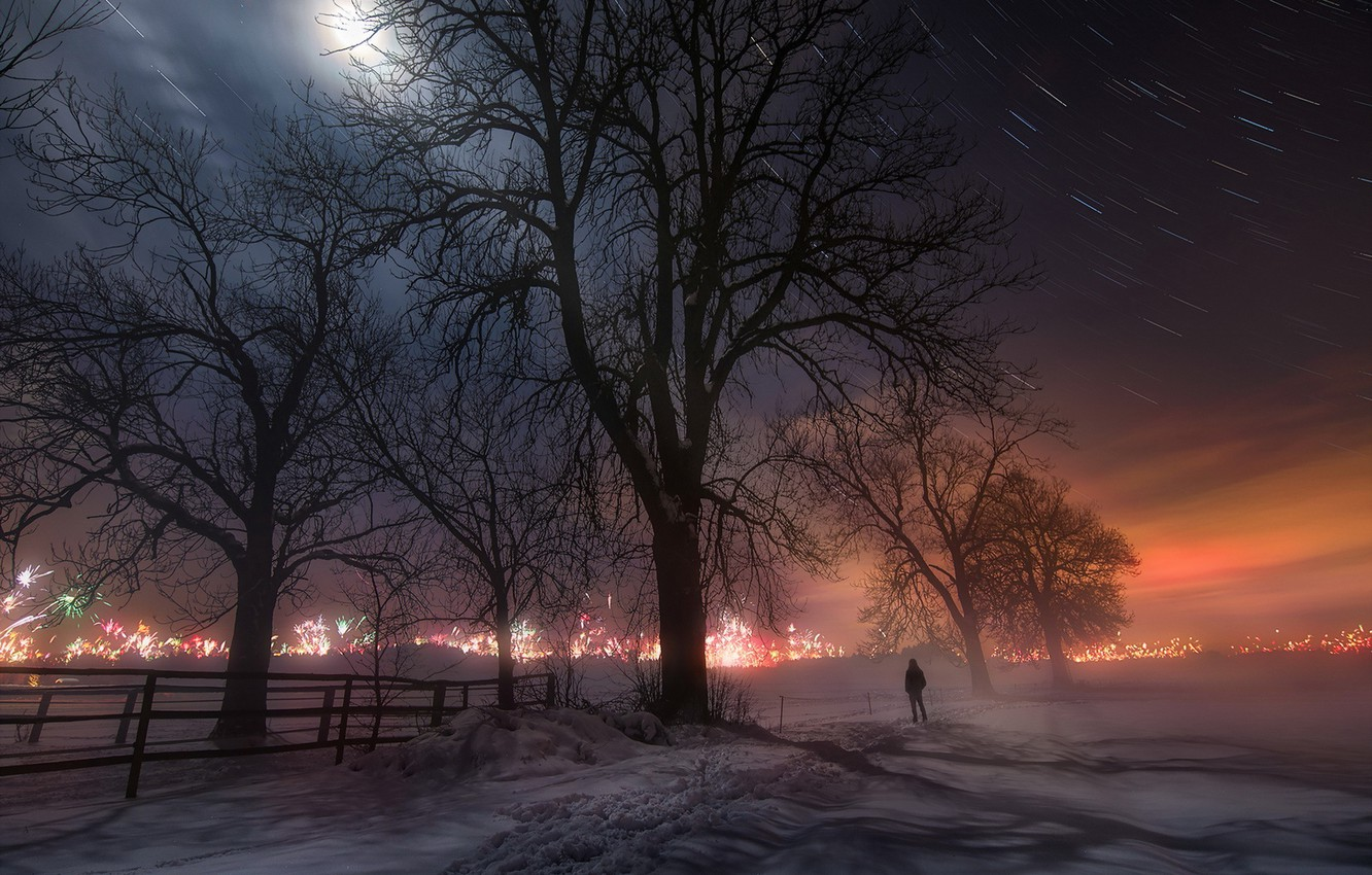 Photo wallpaper landscape, night, the city, lights, new year