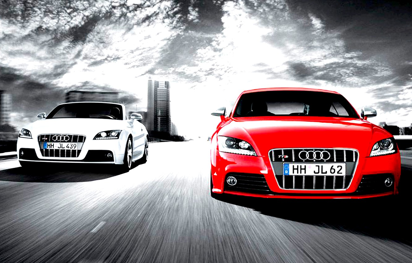 Photo wallpaper audi, cars, competition, two cars, full speed, white and red
