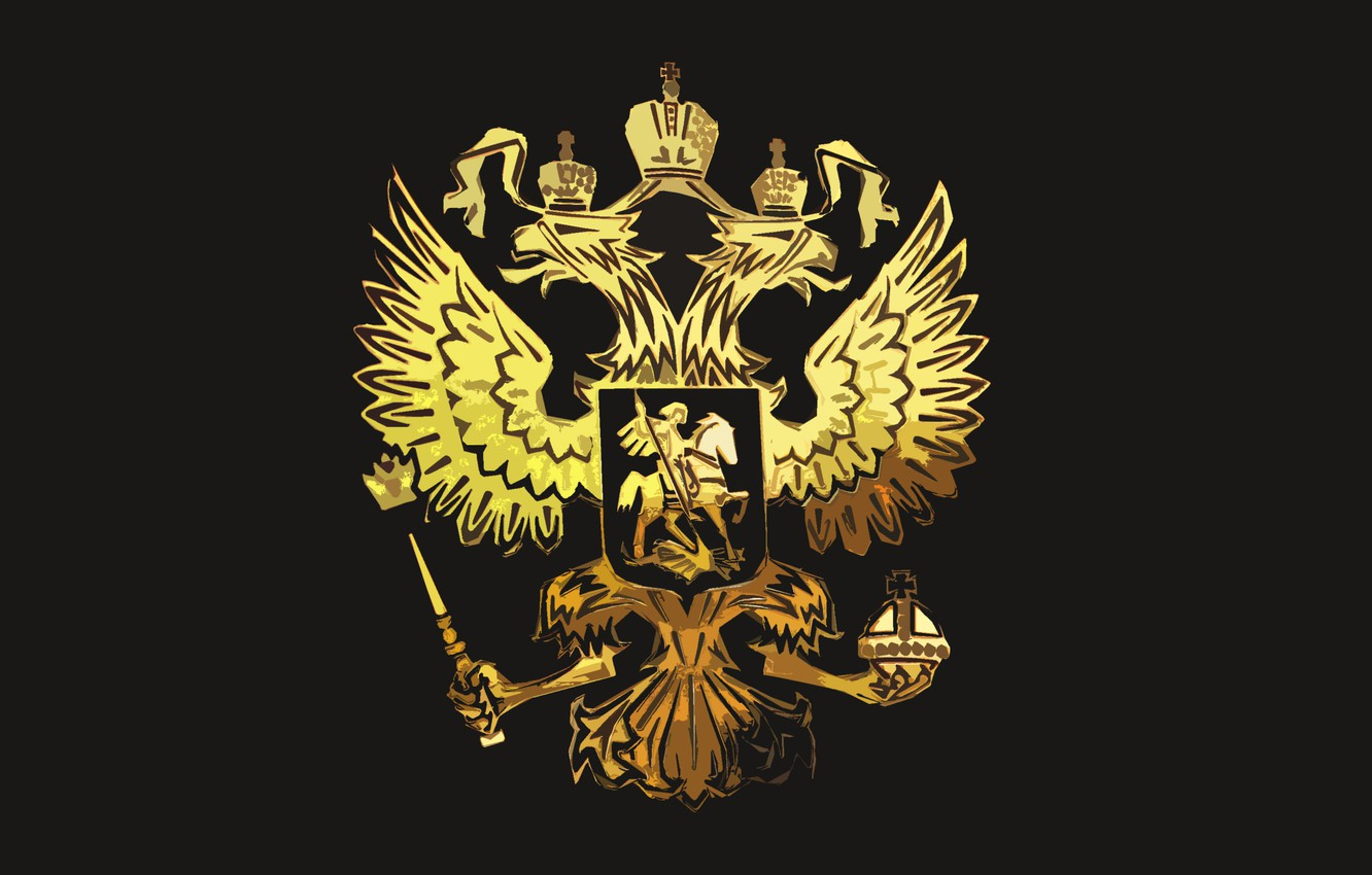 Photo wallpaper Black, Eagle, Background, Coat of arms, Russia