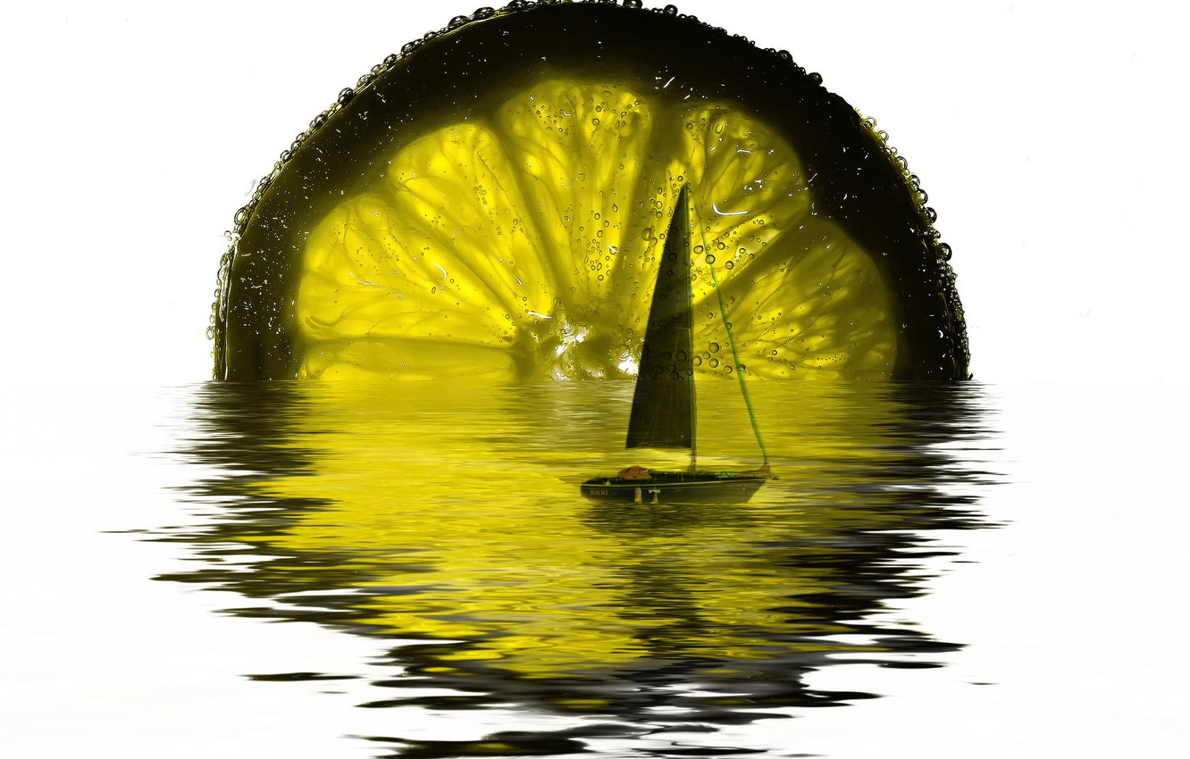 Photo wallpaper transparency, reflection, boat, sail, lime
