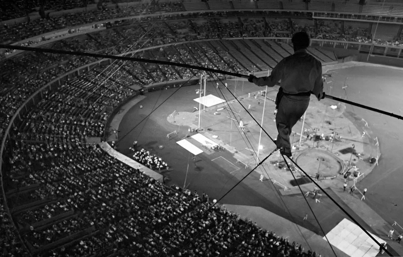 Photo wallpaper photo, black and white, the situation, the dome, arena, adrenaline, risk, the audience, wusata, Tightrope …