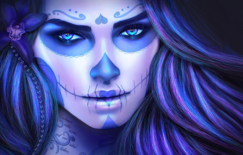 Photo wallpaper look, girl, face, skull, makeup, sugar skull