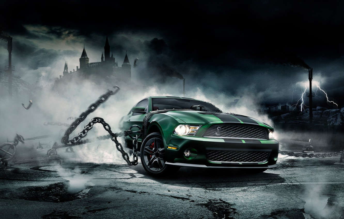 Photo wallpaper Mustang, Ford, Shelby, Mustang, chain