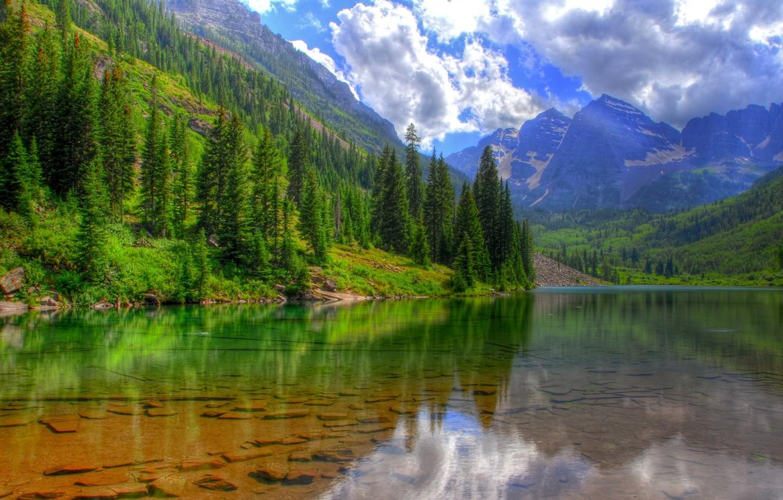 Photo wallpaper clouds, trees, mountains, lake