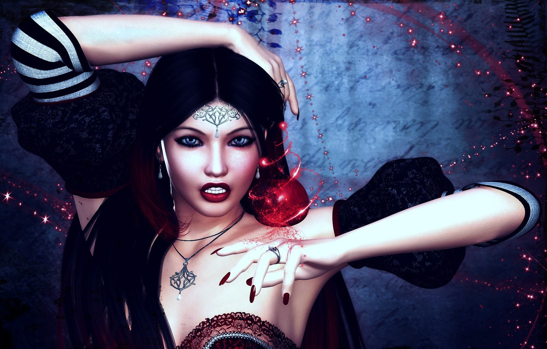 Photo wallpaper girl, decoration, magic, Apple, art, amulet