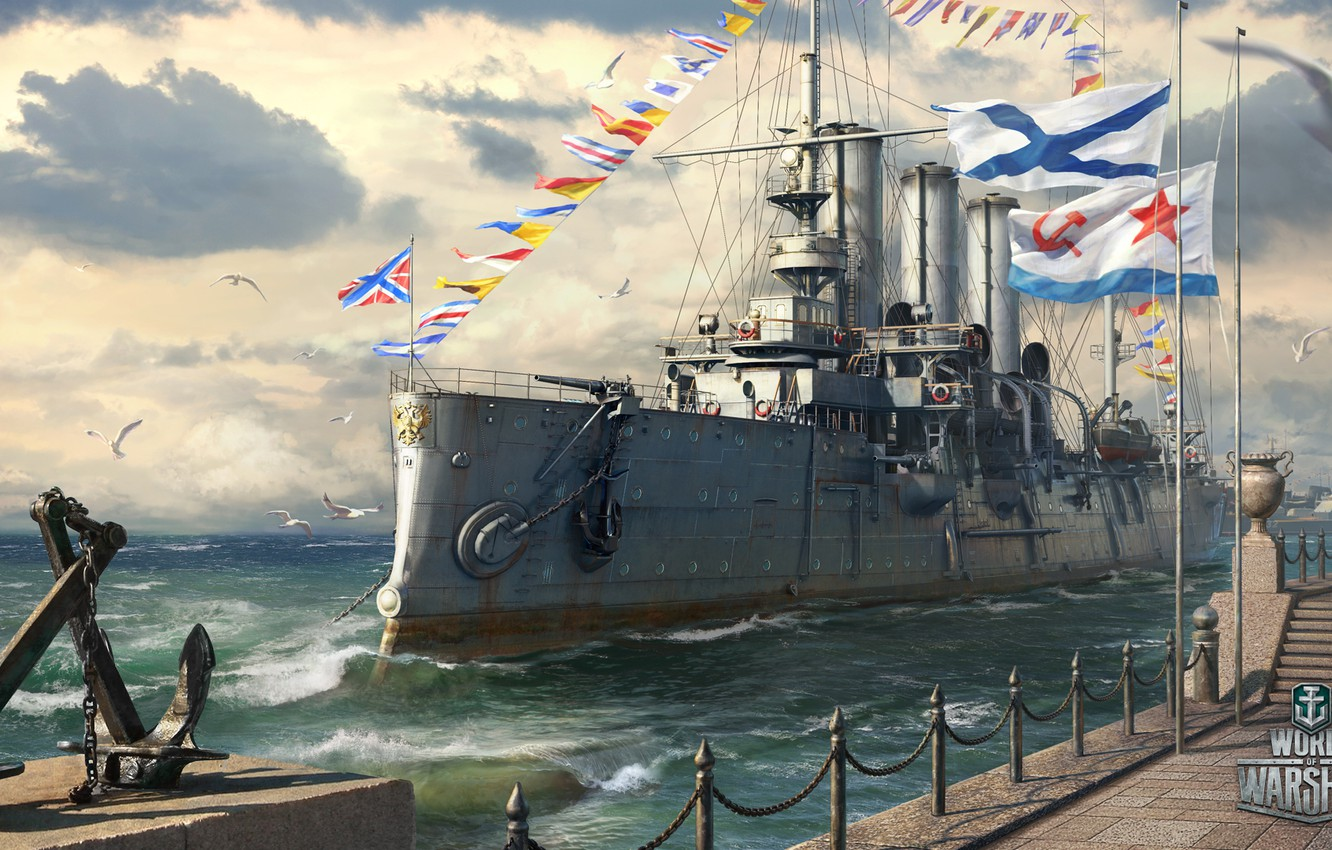 Photo wallpaper Aurora, Holiday, World of Warships, Navy day of Russia