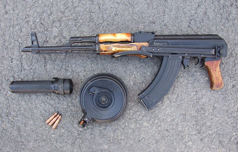 Photo wallpaper weapons, background, Kalashnikov, Machine, cartridges, shop, muffler, Kalashnikov, AKMS