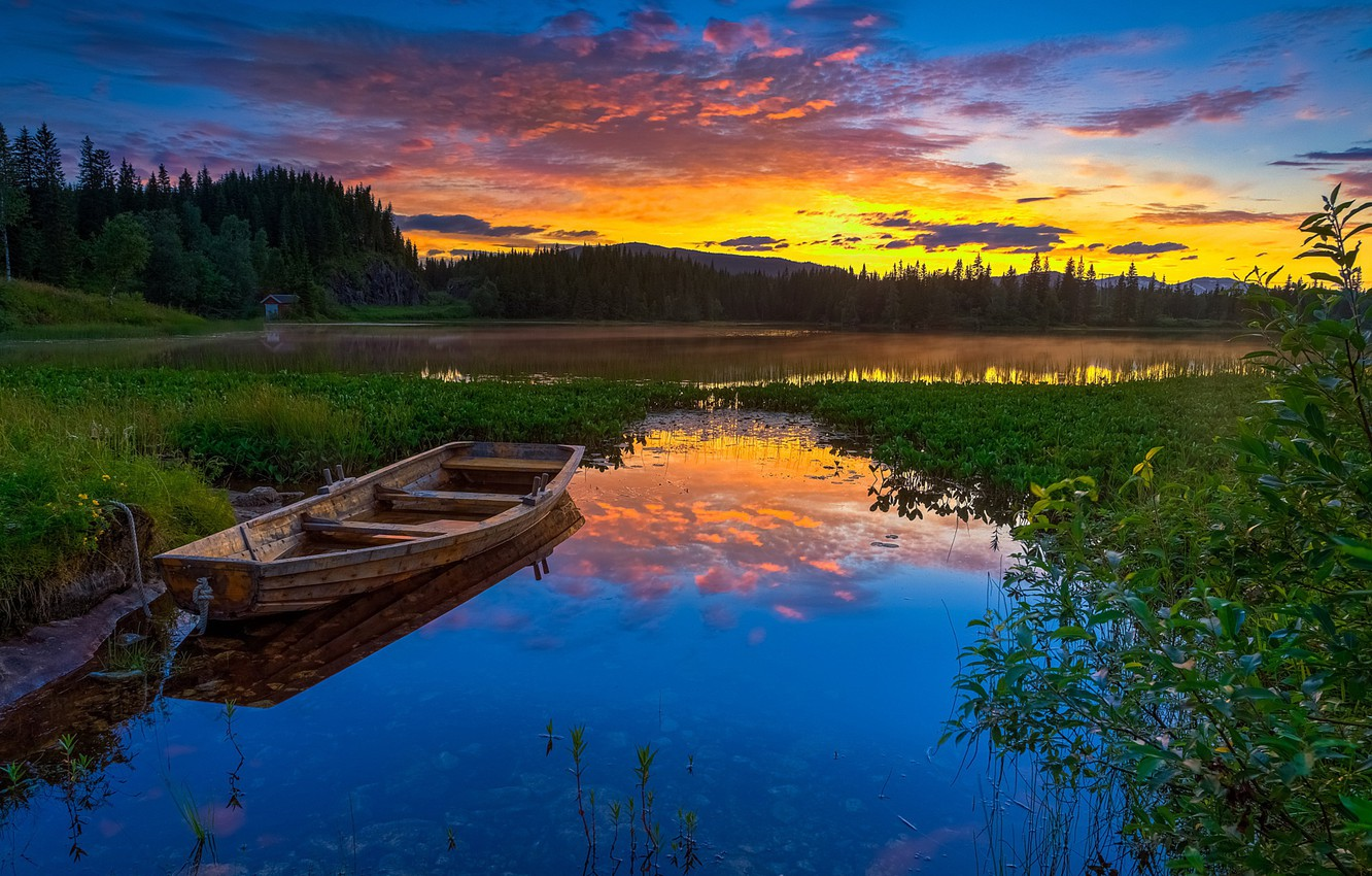 Photo wallpaper forest, the sky, trees, sunset, mountains, nature, lake, shore, boat, the evening, Norway, glow, house
