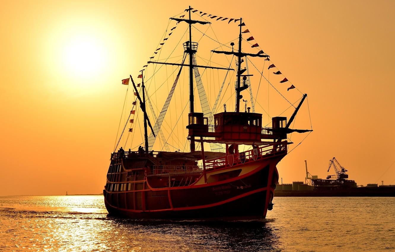 Photo wallpaper sunset, sailboat, three-masted Carrack, Santa Maria