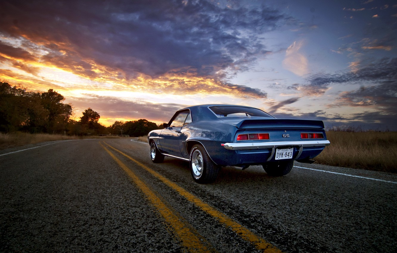 Photo wallpaper road, sunset, Camaro
