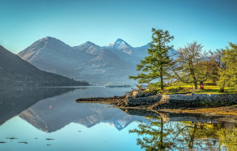 Photo wallpaper trees, mountains, lake, reflection, Scotland, Scotland, Kintail, Lake Loch Duich, Five sisters of Kintail, Kintail, …