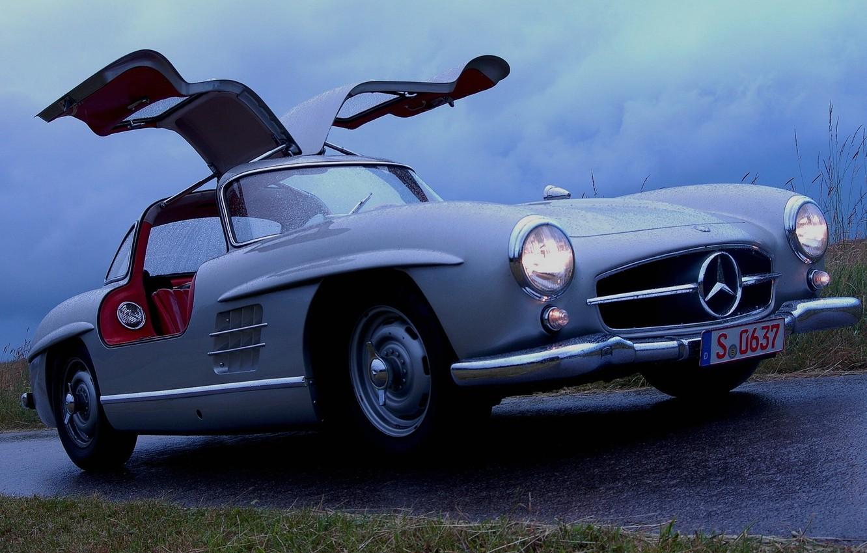 Photo wallpaper wet, Mercedes-Benz, door, Mercedes, 300, gull-wing, Gullwing