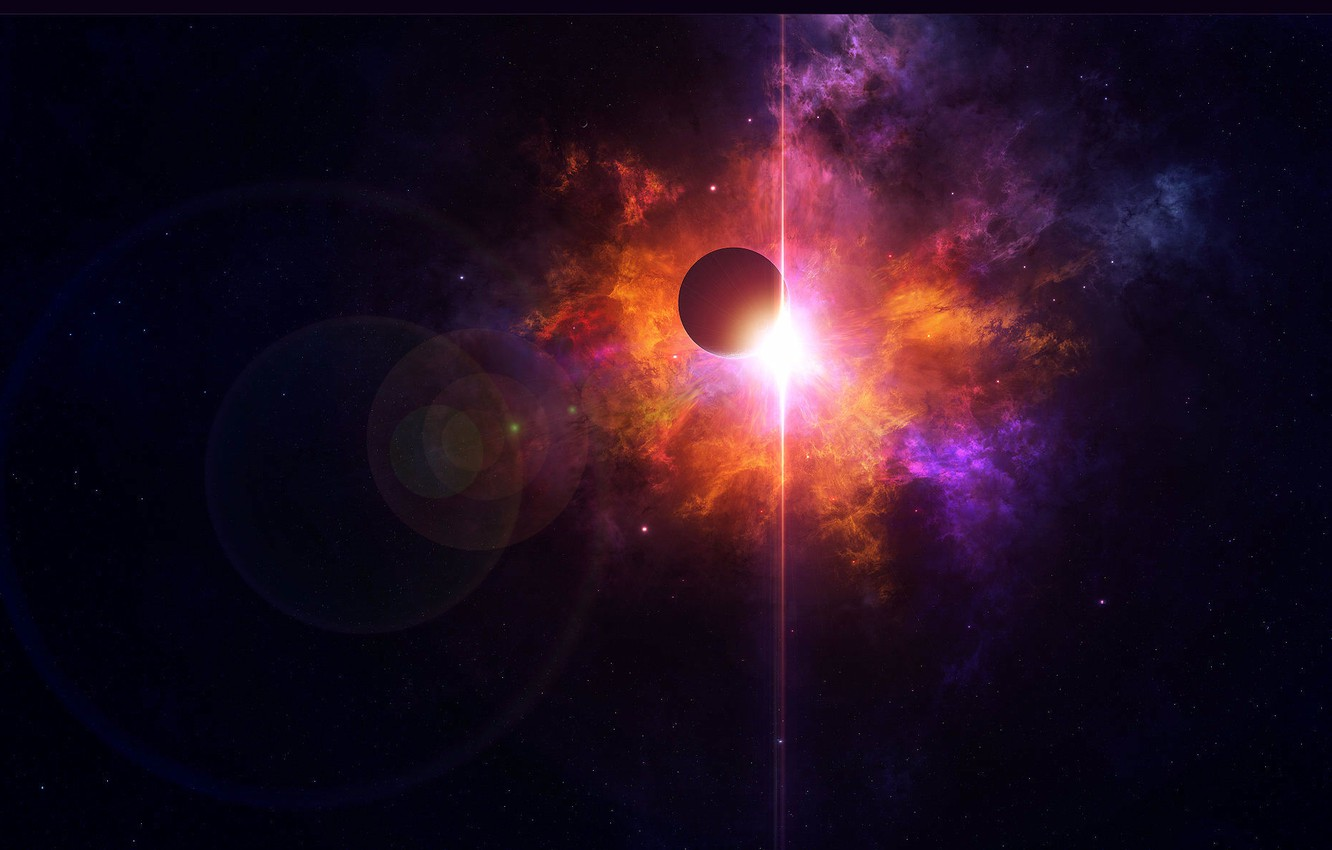 Photo wallpaper space, star, planet, space, light, star, planet