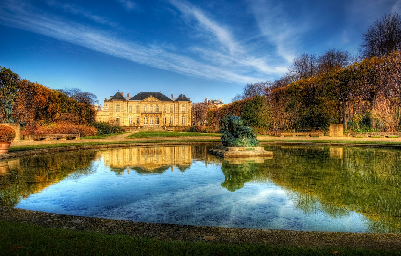 Photo wallpaper the sky, water, house, Paris, fountain, France, the estate