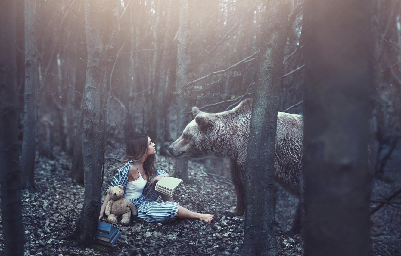 Photo wallpaper forest, girl, books, bear, bear