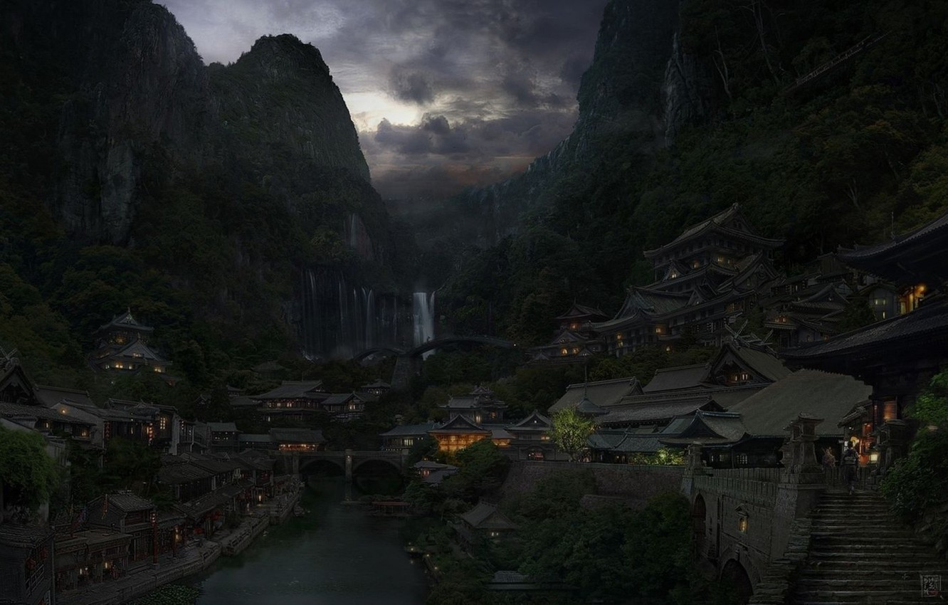 Photo wallpaper clouds, mountains, bridge, the city, lights, river, China, East
