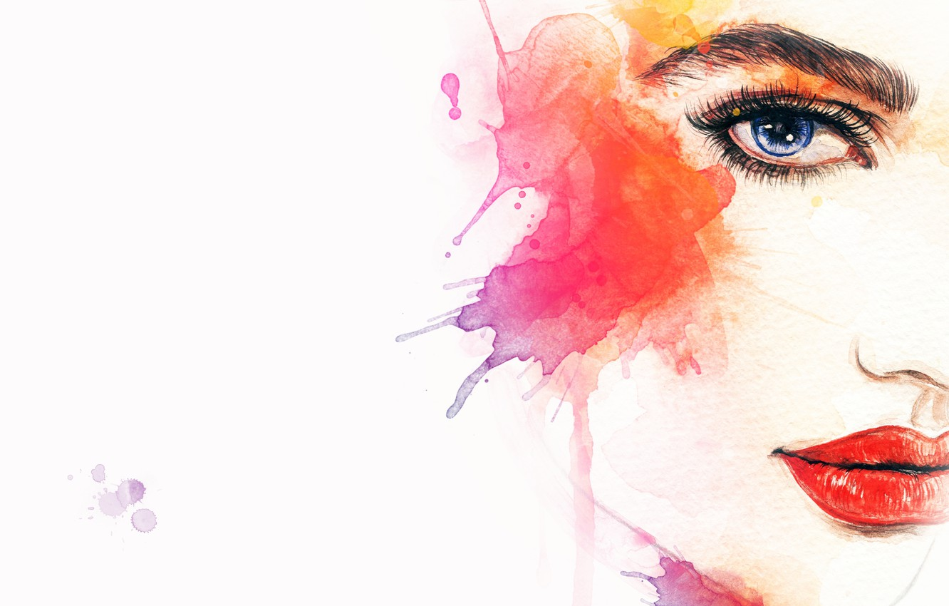 Photo wallpaper eyes, girl, face, watercolor, lips, color