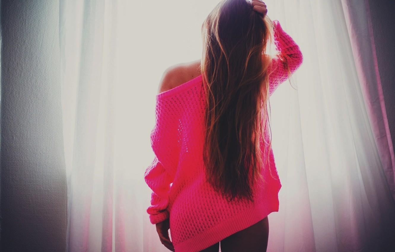 Photo wallpaper long hair, pink, women, window, brunette