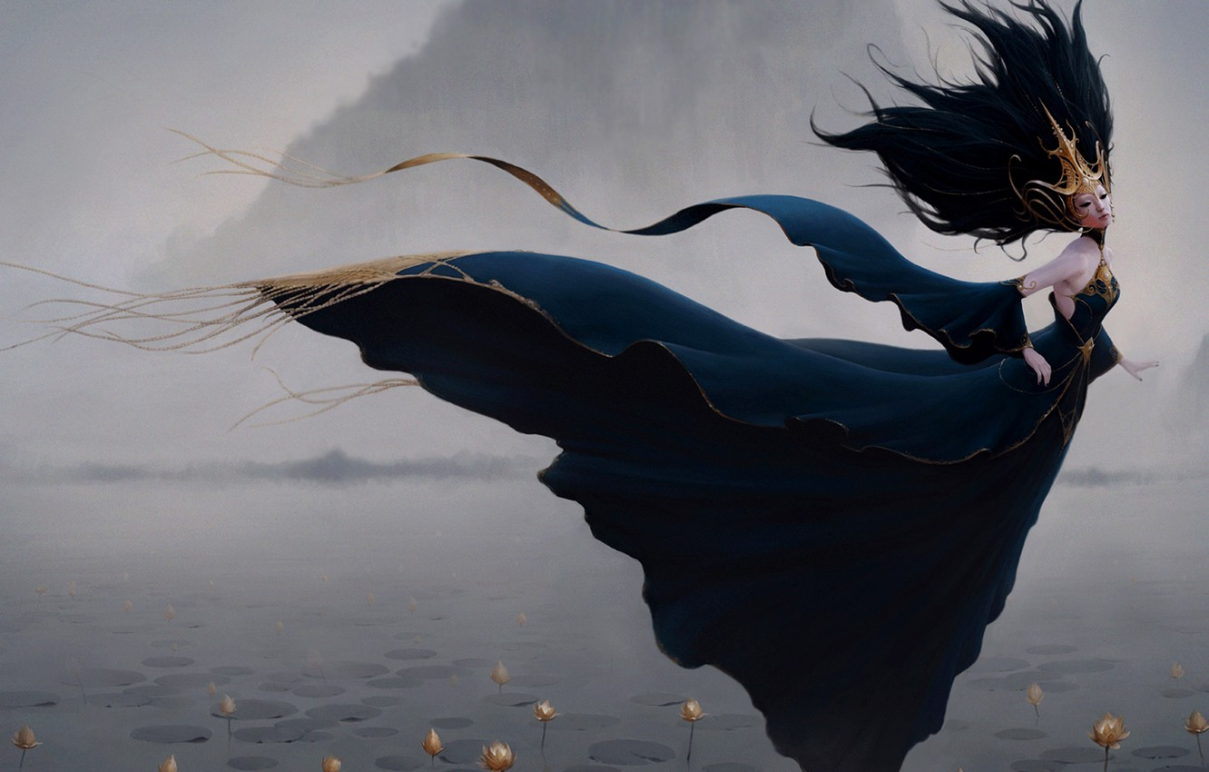 Photo wallpaper decoration, flowers, fog, lake, the wind, mountain, Girl, panache, water lilies, the style of fantasy, …