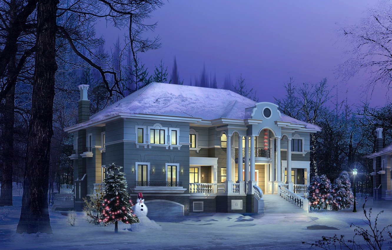 Photo wallpaper winter, house, tree
