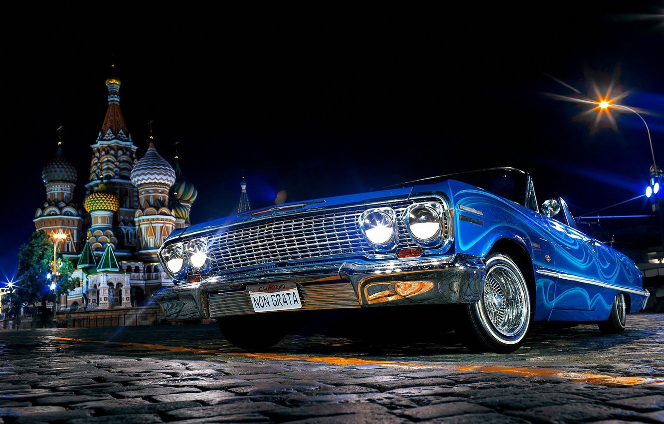 Photo wallpaper Auto, Moscow, St. Basil's Cathedral, Red square, Chevrolet Impala 1967