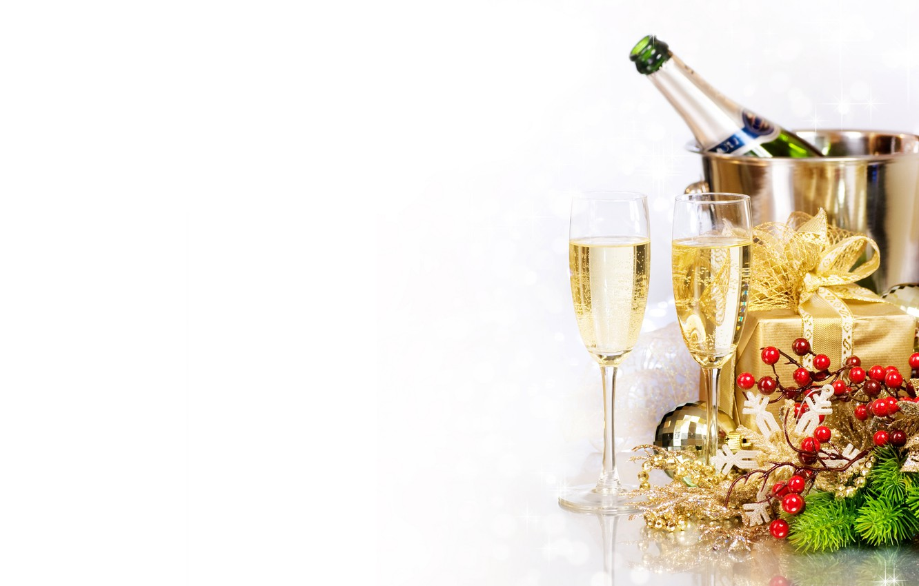 Photo wallpaper branches, box, gift, bottle, new year, Christmas, glasses, tree, drink, the scenery, champagne, holidays, pail