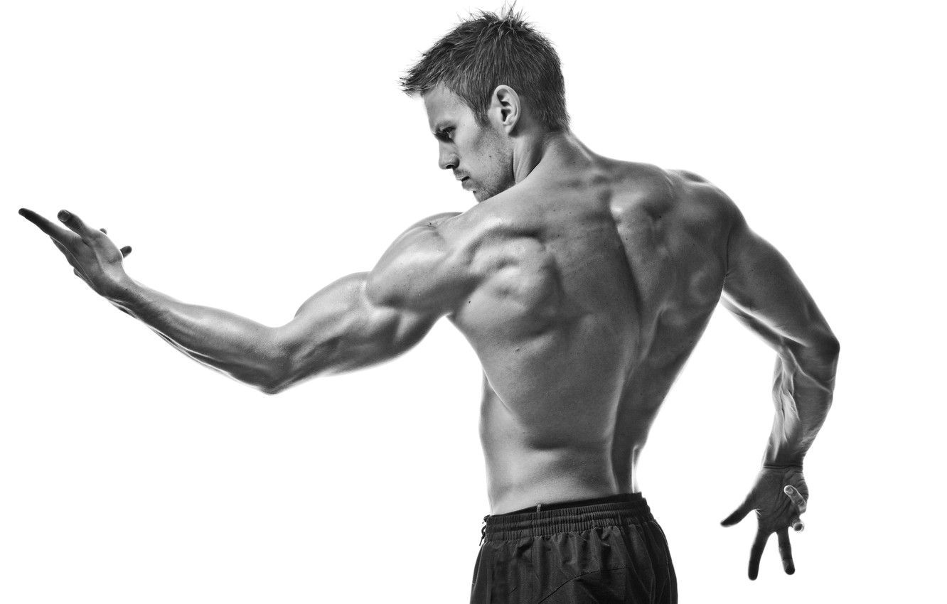 Photo wallpaper sport, muscles, black and white, pose, gym