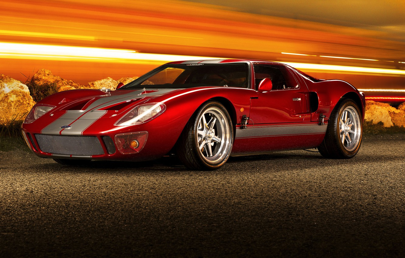 Photo wallpaper red, supercar, ford gt40