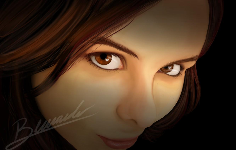 Photo wallpaper look, girl, smile, art, brown eyes, axt234