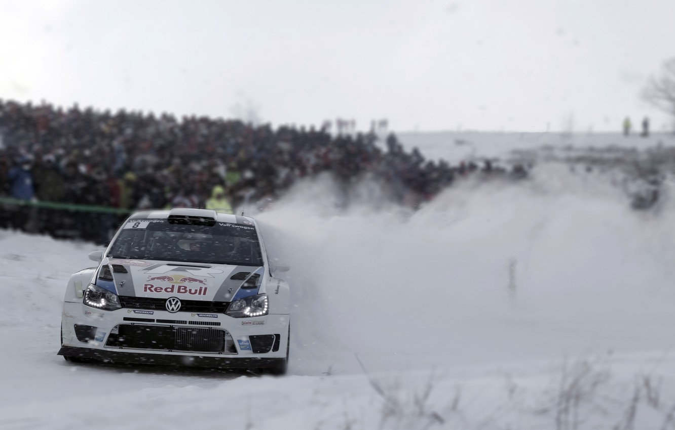 Photo wallpaper Snow, Volkswagen, Turn, Skid, WRC, Rally, The front, Polo, Blur