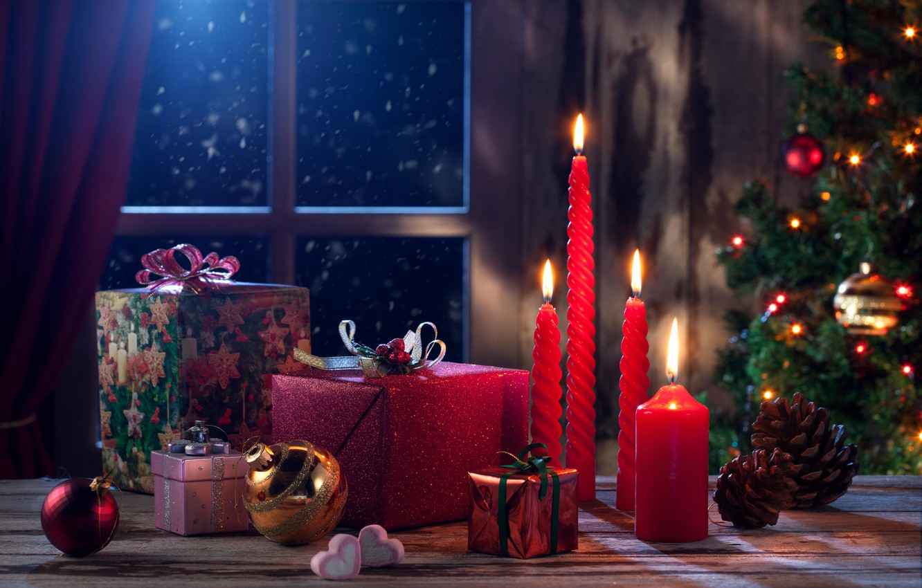 Photo wallpaper balls, decoration, toys, tree, candles, window, Christmas, gifts, New year, tree, bumps