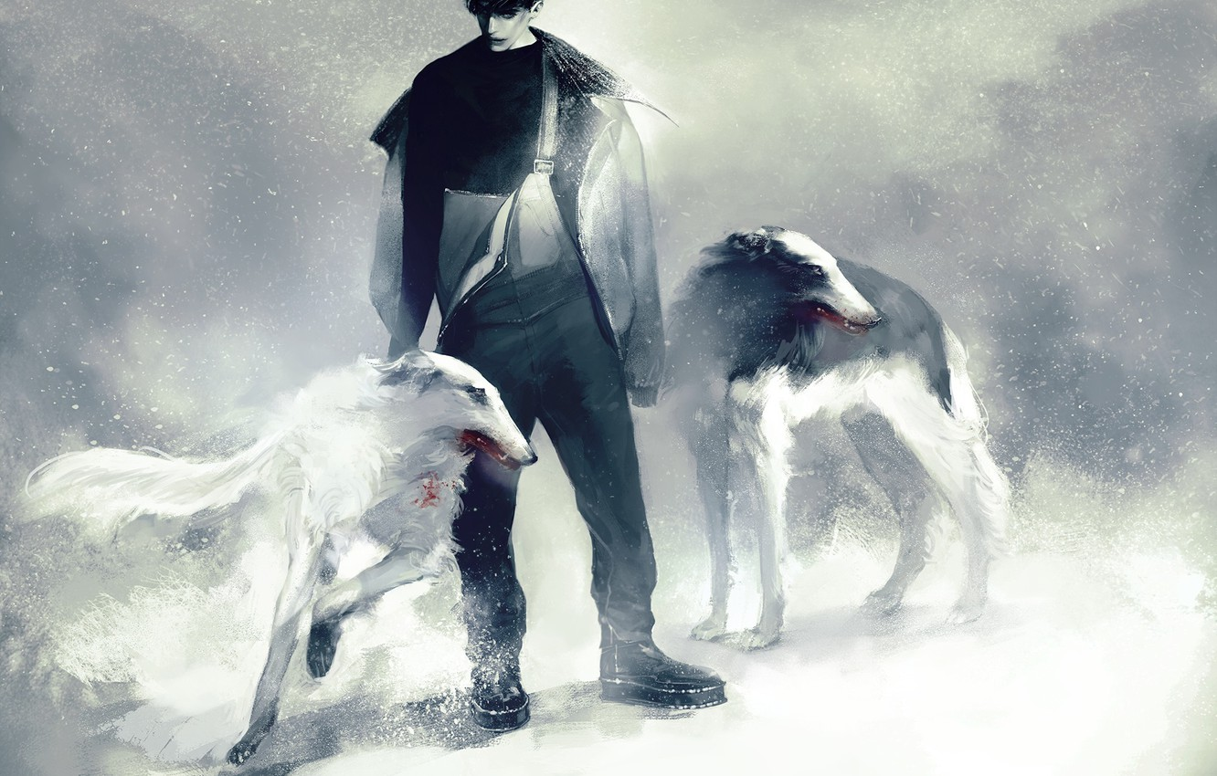 Photo wallpaper winter, dogs, snow, anime, art, guy, Russia, Ivan Braginsky, Axis powers hetalia and Axis countries, …