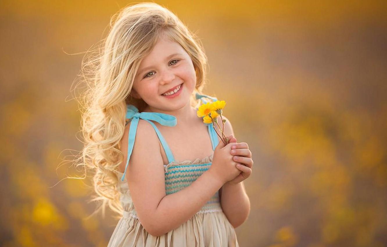 Photo wallpaper flowers, mood, child, girl