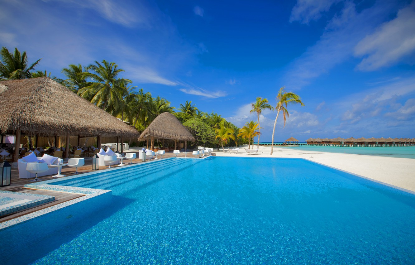 Photo wallpaper sea, the sky, palm trees, the ocean, stay, island, vacation, pool, the Maldives, Bungalow