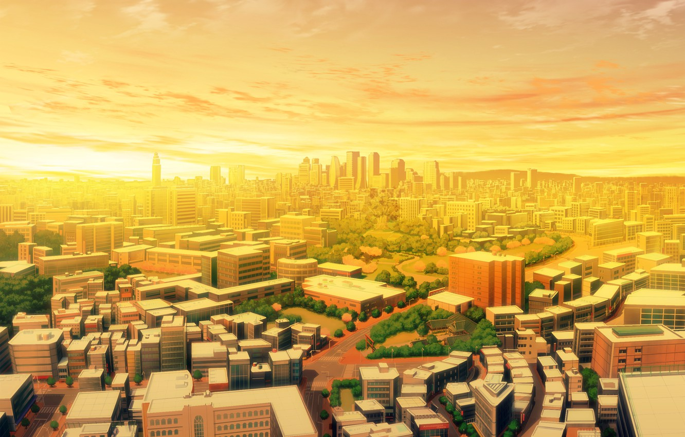 Photo wallpaper the sky, clouds, light, bright, the city, dawn, building, road, morning, early, gold, solar, Cirrus, …