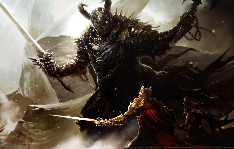 Photo wallpaper armor, helmet, battle, axe, swords, warrior, warriors