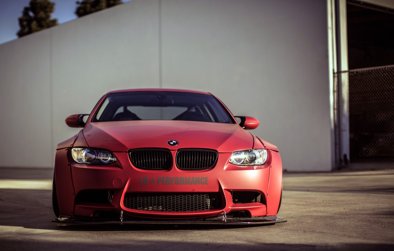 Photo wallpaper BMW, red, wheels, tuning, front, E92