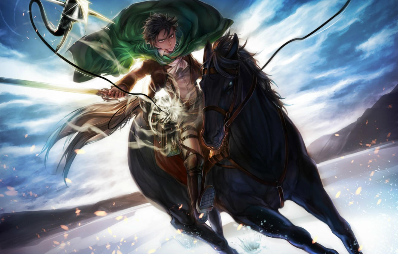 Wallpaper The Sky Attack Horse Swords Military Uniform