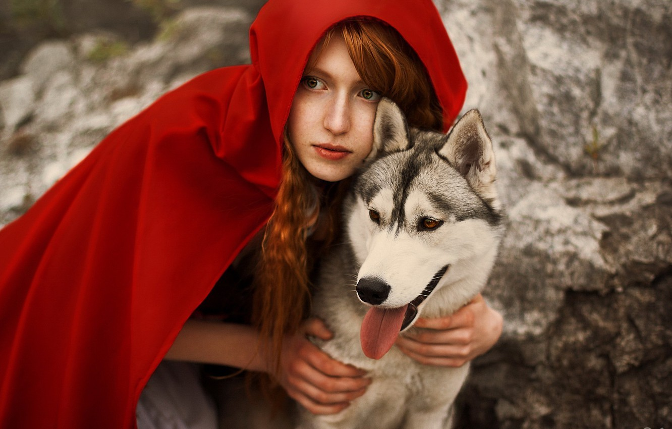 Photo wallpaper wolf, cloak, wolf, redhead, cosplay, Red Riding Hood, Cosplay, little red riding hood