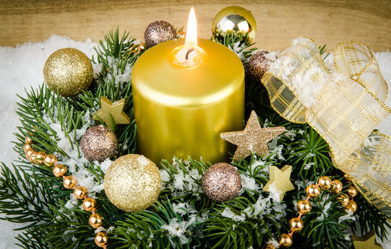 Photo wallpaper snow, decoration, tree, candles, New Year, Christmas, gifts, Christmas, Xmas, decoration, gifts, Merry