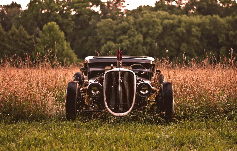 Photo wallpaper grass, hot rod, custom, autowalls, hot rod